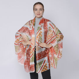 LA MAREY 100% Mulberry Silk Dot and Abstract Pattern Womens Scarf (Size:175x110Cm)  Red and Multi