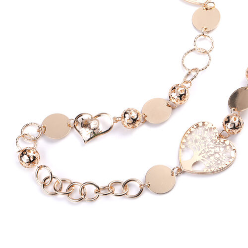 Simulated Diamond Necklace (Size 42 with 2 inch Extender) in Gold Tone