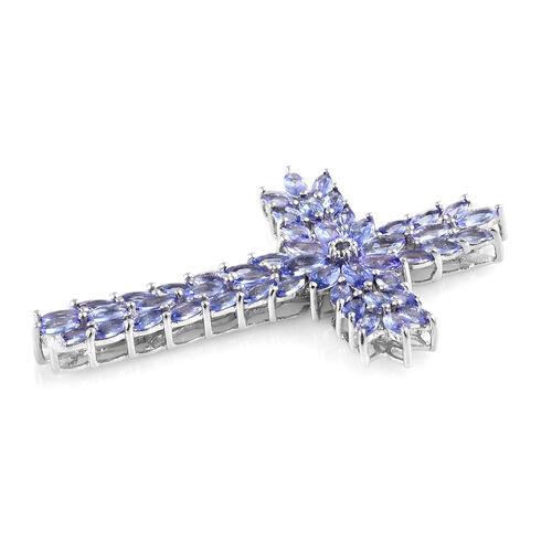 Tanzanite (Mrq) Cross Pendant in Platinum Overlay Sterling Silver   7.250 Ct, Silver wt 7.72 Gms.