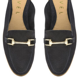 Ravel Navy Brooker Suede Backless Loafers