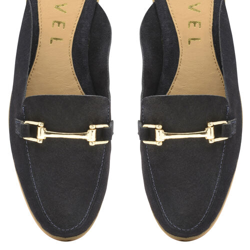Ravel Navy Brooker Suede Backless Leather Loafers (Size 3)