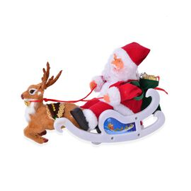 Christmas Decorations  Santa Claus on Reindeer Cart (Size 30x20 Cm)