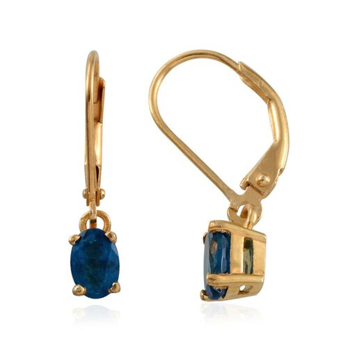 Malgache Neon Apatite (Ovl) Lever Back Earrings in 14K Gold Overlay Sterling Silver 1.150 Ct.