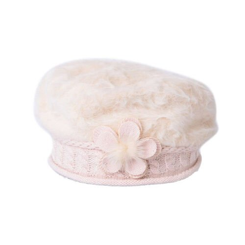 MILANO COLLECTION - Cream Flower Embellished Faux Fur Knitted Beret