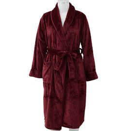 Microfibre Soft Flannel Shawl Collar Dressing Gown with Pocket (Size 65x115 Cm) - Wine Red
