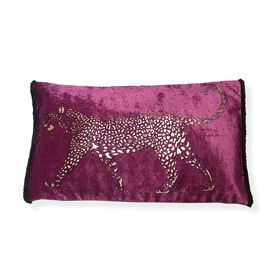 Black Khari Printed & Gold Foil Painted Silky Velvet Leopard Pillow with Fringes (Size 30x50 Cm) - P
