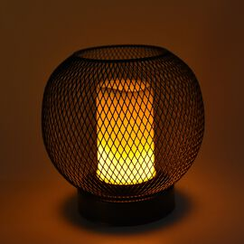 Portable Flameless Simulation White Candle with Oval Mesh Design Stand - Black (3xAA Battery not Inc