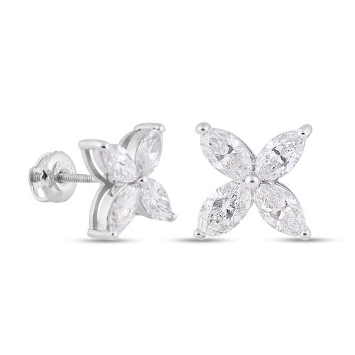 NY Close Out Deal 14K White Gold IGI Certified Natural Diamond (I1-I2/G-H) Stud Earrings (with Screw Back) 2.12 Ct.