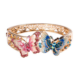 Multicolour Austrian Crystal (Rnd) Butterfly Enamelled Bangle (Size 6.5) in Yellow Gold Tone