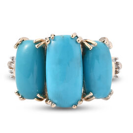 9K Yellow Gold AA Arizona Sleeping Beauty Turquoise and Diamond Ring 4.45 Ct.