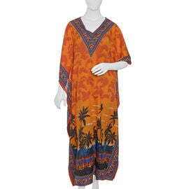 Orange, Red, Blue and Multi Colour Tree and Fish Pattern Full Length Apparel (Size 125x70 Cm)