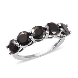 Elite Shungite Five Stone Ring in Platinum Overlay Sterling Silver 2.00 Ct.