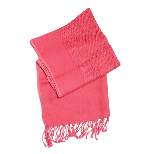 Luxurious Super Soft 100% Linen Handloom Woven Natural Dyed Fuchsia Colour Shawl (Size 180x70 Cm)