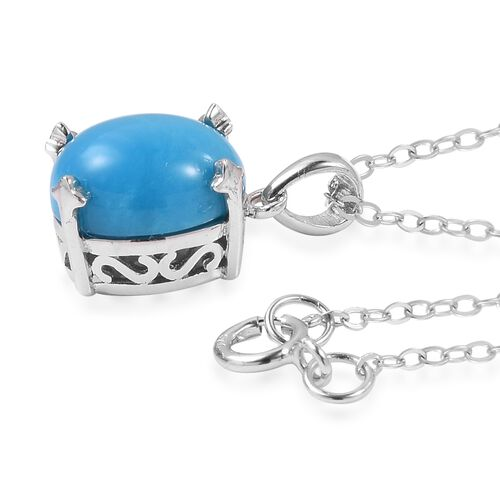 Arizona Sleeping Beauty Turquoise (Ovl) Solitaire Pendant with Chain in Rhodium Plated Sterling Silver 2.250 Ct.