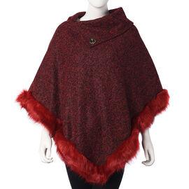 Faux Fur Warm Poncho with Fluffy Edges (Size 80x90 Cm) - Burgundy