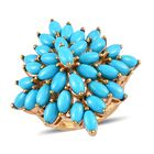 Arizona Sleeping Beauty Tuquoise (Mrq) Cluster Ring (Size M) in 14K Gold Overlay Sterling Silver 9.50 Ct, Sil