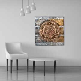 Balinese - Abstract 3D Art Inspired Wall Canvas Handpainting - Bronze (Size 50x50 Cm)
