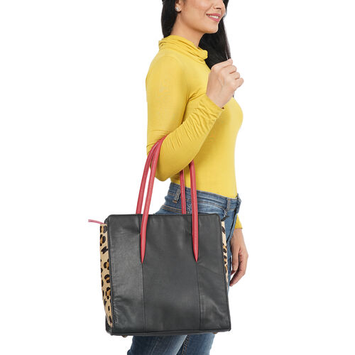 Premium Collection 100% Genuine Leather Tote Bag (Size 31x31x13cm) - Black