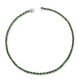 36.75 Ct Russian Diopside Tennis Necklace in Rhodium Plated Silver 28 Grams 18 Inch