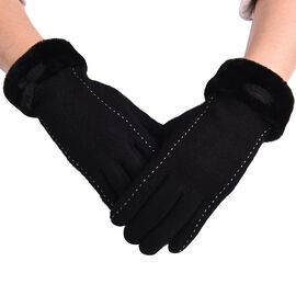 Solid Black Cashmere Gloves with Dotted Line Detail and Faux Fur Trim