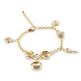 9K Yellow Gold Bracelet (Size 7 with 1.5 inch Extender) with Heart, Flower and Multi Charms, Gold wt 7.60 Gms.