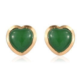 Green Jade (Hrt) Heart Stud Earrings (with Push Back) in 14K Gold Overlay Sterling Silver 5.000 Ct.
