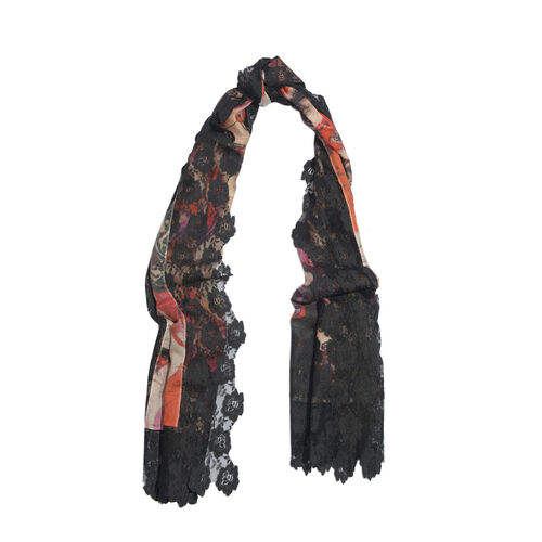 (50% Mulberry Silk and 50% Merino Wool) Multi Colour Floral Pattern Black Colour Scarf with Nylon Floral Lace Border (Size 170x75 Cm)