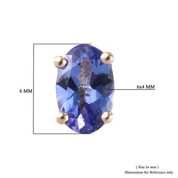 9K Yellow Gold AA Tanzanite (Ovl 6x4mm) Stud Earrings (with Push Back) 1.00 Ct.