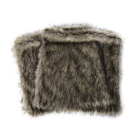 2 Piece Set - Faux Fur with Reverse Mink Cushion Cover - Grey Wolf (Size 45.72x45.72 Cm)