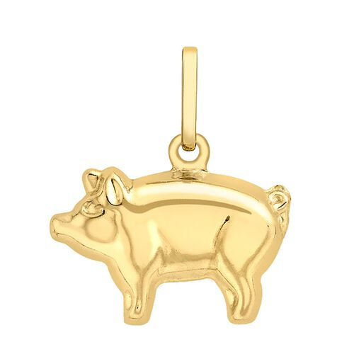 9K Yellow Gold Pig Pendant.