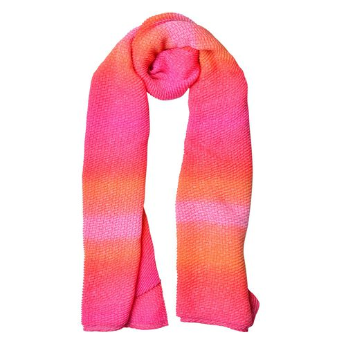 Designer Inspired-Orange and Pink Colour Scarf (Size 155X88 Cm)