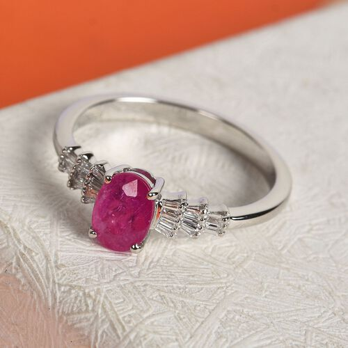 RHAPSODY 950 Platinum AAAA Natural Mozambique Ruby (Ovl 7x5mm) and Diamond (VS /E-F) Ring 1.10 Ct.