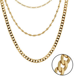 Italian Made - Gold Overlay Sterling Silver 3-Layer Chain (Size 15 with 2 inch Extender), Silver wt.