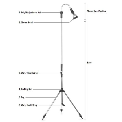 Multi Functional Portable Outdoor Shower Stand with Adjustable Shower Head and Height (L: 160-230 Cm)