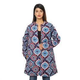 Handmade Printed Reversible Quilted Long Jacket in Navy Blue and Multi Colour