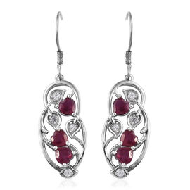 3.85 Ct African Ruby and Cambodian Zircon Heart Drop Earrings in Sterling Silver 6.19 Grams