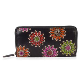 SUKRITI 100% Genuine Leather Popping Flower Pattern Wallet with RFID Blocker (Size 20x10 Cm) - Black