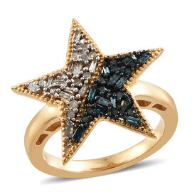 Blue and White Diamond (Rnd and Bgt) Star Ring in 14K Gold Overlay with Blue Plating Sterling Silver