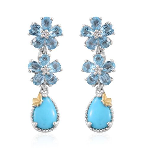Arizona Sleeping Beauty Turquoise (Pear), Electric Swiss Blue Topaz and White Topaz Floral Earrings (with Push Back) in Platinum Overlay Sterling Silver 4.600 Ct.