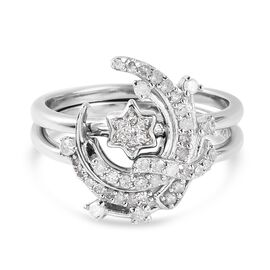 Diamond Ring and Solitaire Ring in Platinum Overlay Sterling Silver 0.359 Ct.