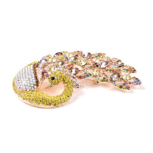 One Time Deal-Multicolour Austrian Crystal (Rnd) Peacock Brooch or Pendant in Gold Plated