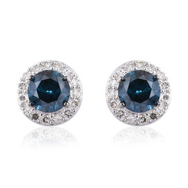 Close Out Deal- 9K White Gold Blue and White SGL Certified Diamond (Rnd) (I3/G-H) Earring (with Push
