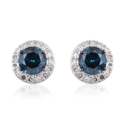 1.75 Ct Blue and White Diamond Halo Earrings in 9K White Gold 2.02 Grams SGL Certified I3 GH