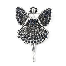 Blue Austrian Crystal Angel Brooch in Silver Tone