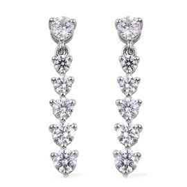 J Francis Made with SWAROVSKI ZIRCONIA Dangle Earrings in Platinum Plated Sterling Silver