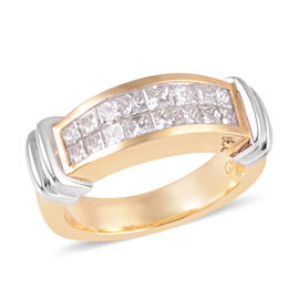 ILIANA SGL Certified SI G-H 0.85 Ct Diamond Ring, Invisible Set Two Row Half Eternity Band in 18K Wh