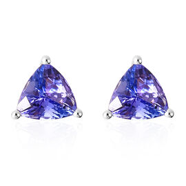 1.25 Ct Tanzanite Stud Solitaire Earrings in 14K White Gold