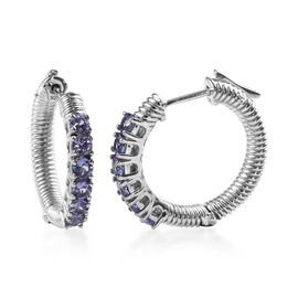 1.25 Ct Tanzanite Hoop Earrings in Platinum Plated Silver 8.40 Grams