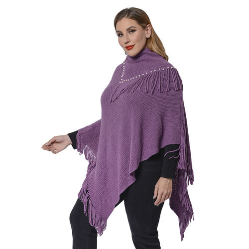 Ladies Knitted Cape Neck Poncho with Beads and Tassels (Size 100x90 Cm) - Purple