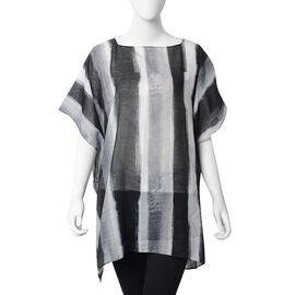 Green and Black Colour Stripe Pattern Poncho (Size 88x75 Cm)